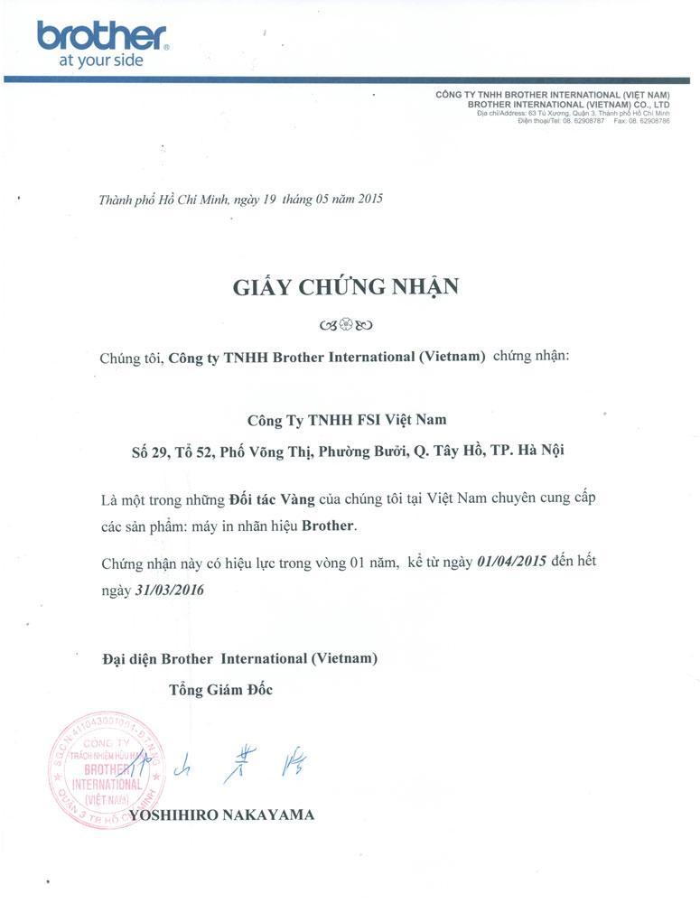 giấy chứng nhận nhà phần phối FSI Brother