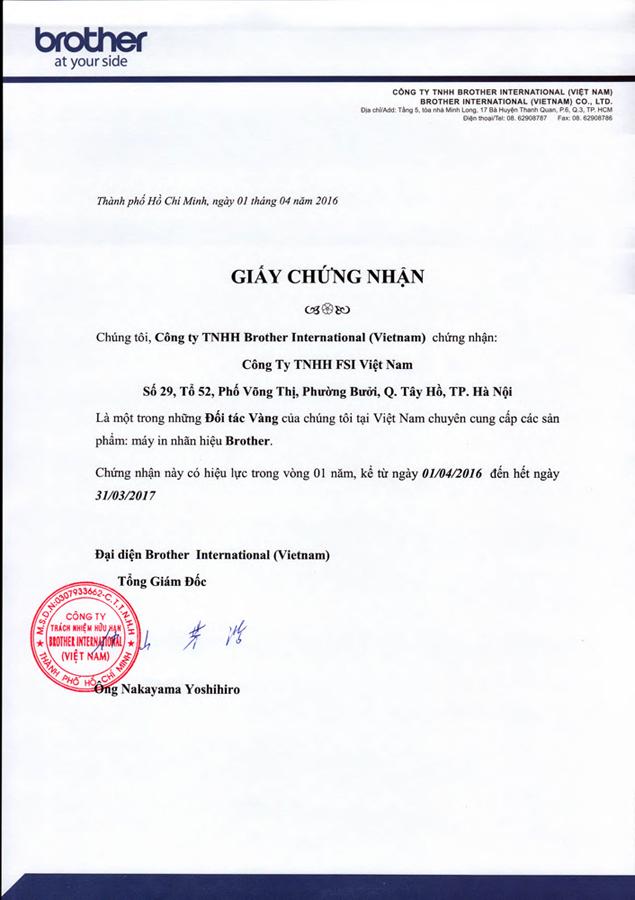 giấy chứng nhận nhà phân phối 2016
